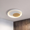Black/White Circle Flush Mount Fixture Simple Metal LED Ceiling Light with Wood Decoration, 12