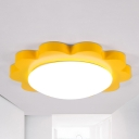 Metal Sun Close to Ceiling Lamp Kids Style LED Flush Mount Lighting Fixture in Yellow