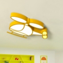 Kids Style Helicopter Ceiling Lamp Metallic LED Nursery Flush Mount Light Fixture in Yellow/Blue
