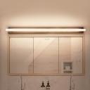 Rectangular Tube Flush Mount Wall Sconce Modern Acrylic LED Black Vanity Lamp in Warm/White Light