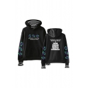 Unique Letter Graphic Print Striped Patchwork Fake Two Pieces Drawstring Kangaroo Pocket Long Sleeve Relaxed Fit Hooded Sweatshirt