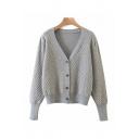 Retro Womens Diamond Print Button Up V Neck Bishop Long Sleeve Loose Knit Cardigan Sweater