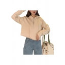 Basic Womens Solid Color Long Sleeve Half Zipper Drawstring Relaxed Crop Hoodie