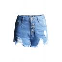 Novelty Womens Blue Shorts Faded Wash Distressed Asymmetric Frayed Hem High Waist Button Fly Regular Fitted Denim Shorts