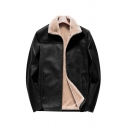 Mens Jacket Creative Fleece-Lined Zipper Vents Long Sleeve Turn-down Collar Loose Fitted Leather Jacket