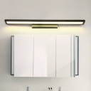 Simple Rectangle Vanity Wall Sconce Metallic LED Bathroom Wall Lighting Ideas in Black/Silver, Warm/White Light