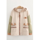 Girls Trendy Cat Embroidered Pockets Contrasted Long Sleeve Hooded Zip Up Loose Coat in Khaki