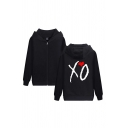 Leisure Letter XO Heart Graphic Long Sleeve Zipper Front Loose Hoodie