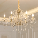Swirled Arm Metal Hanging Light Kit Contemporary 6 Bulbs Living Room Crystal Chandelier in Champagne