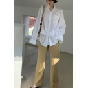 Pretty Womens White Long Sleeve Stand Collar Button Up Patched Loose Shirt Top