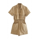 Women's Fancy Rompers Plain Short Sleeve Multi Pockets Turn-up Cuff Spread Collar Button Closure Elastic Waist Wide-leg Rompers