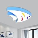 Acrylic Fish Flush Lighting Fixture Minimalism Blue/Green/Orange LED Ceiling Flush Mount for Classroom