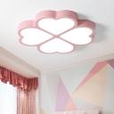 Loving Heart Acrylic Flush Mount Fixture Minimalism LED Pink Close to Ceiling Lighting