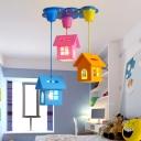 Cottage Multiple Lamp Pendant Cartoon Wood 3 Heads Blue-Pink-Yellow Hanging Light Kit