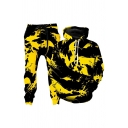Popular Contrasted Long Sleeve Drawstring Kangaroo Pocket Loose Fit Hoodie & Sweatpants Co-ords in Yellow