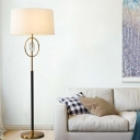 Single Bulb Oval Floor Lighting Modernism Brass and Black Crystal Prisms Floor Lamp with Fabric Shade