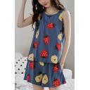 Pop Ladies All Over Fruit Print Crew Neck Sleeveless Loose Tank Top & Pocket Shorts Pajama Set in Blue