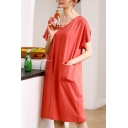Red Casual Two-Pocket V Neck Short Sleeve Midi Shift T Shirt Nightdress for Women