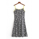 Chic Womens Ditsy Floral Printed Spaghetti Straps Short A-line Slip Dress in Black