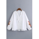 Girls Ethnic Flower Embroidered Long Sleeve Bow Tied V-neck Loose Fit Shirt Top in White