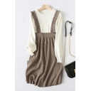 Stylish Ladies Fake Two Piece Knit Long Sleeve Crew Neck Stringy Selvedge Button Up Mid A-line Dress