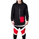 Basic Mens Pullover Sweatshirt Contrasted Panel Pocket Curved Hem Zipper Decorated Loose Fit Long Sleeve Crew Neck Pullover Sweatshirt