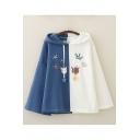 Ladies Cute Cartoon Cat Heart Letter Love Printed Color Block Drawstring Bell Long Sleeve Loose Fit Hoodie
