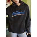 Fashionable Striped Letter No Thanks Graphic Printed Drawstring Kangaroo Pocket Long Sleeve Relaxed  Fit Hooded Sweatshirt