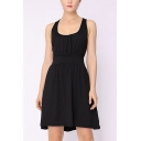 Stylish Solid Color Hollow Out Lace U-Shaped Collar Sleeveless Mini A-Line Dress for Women