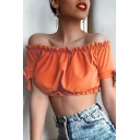 Pretty Plain Stringy Selvedge Open Back Off the Shoulder Tie Short Sleeve Slim Fitted Cropped T-Shirt for Women