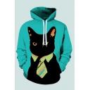 Casual Hooded Sweatshirt Necktie Cat 3D Printed Drawstring Pocket Regular Fit Full Sleeve Hooded Sweatshirt for Men