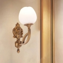 1 Head Wall Light Fixture Traditional Living Room Sconce with Flower Opal Glass Shade in Brass