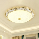 Opal Glass LED Flush Mount Traditional White and Gold Bowl Bedroom Ceiling Light Fixture with Peacock Tail Pattern