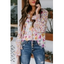 Fancy Womens Allover Flower Printed Long Sleeve V-neck Button up Loose Fit Shirt in Pink