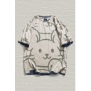 Mens T-Shirt Simple Cartoon Rabbit Face Printed Contrasted Trim Half Sleeve Crew Neck Relaxed Fit T-Shirt