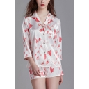Pop Ladies All over Heart Print Button Front Chest Pocket Lapel 3/4 Sleeve Regular Fit Shirt & Shorts Pajama Set in White