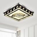 Leaf/Square Bedroom Ceiling Flush Mount Hand-Cut Crystal Simple Style LED Flush Light in Nickel