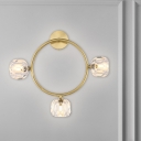 Simple Global Wall Sconce Hand-Cut Crystal 3 Lights Parlor Wall Mount Lamp with Ring/Square Frame in Brass