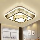 Crystal Round/Flower Ceiling Light Fixture Modern Style LED Silver Flushmount Lighting in Warm/White Light