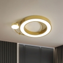 Round Close to Ceiling Lamp Nordic Style Metal LED Living Room Flush Mount in Gold, Warm/White Light