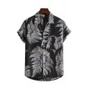 Mens Summer Trendy Black Tropical Leaf Printed Short Sleeve Casual Loose Shirt