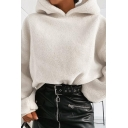 Women Plain White Long Sleeve Loose Fit Soft Fluffy Crop Pullover Hoodie