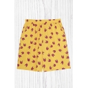 Mens Shorts Trendy All-over Abstract Cat Head Pattern Knee-Length Elastic Waist Regular Fitted Relaxed Shorts in Yellow
