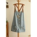 Pretty Womens Overalls Cat Embroidery Ripped Button Pocket Leather Belt Relaxed Fitted Short Denim Overalls