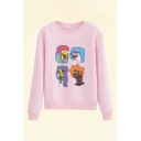 Cool Comic Character Print Round Neck Long Sleeve Regular Fit Pullover Sweatshirt