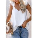 Trendy Womens Lace Trim V Neck Butterfly Sleeve Relaxed Fit Tee Top