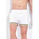 Stylish Men's Patchwork Elasticated Drawstring Waist Mid Rise Straight-Leg Track Shorts