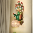 K9 Crystal Spherical Wall Mount Light Rustic 1-Head Bedroom Wall Sconce with Blue/Green/Gold Resin Peacock Backplate