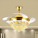 Tapered Hanging Fan Light Minimalist Crystal 19
