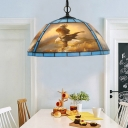Yellow/Blue Cut Glass Hanging Lamp Kit Domed 1-Head Victorian Pendant Light with Landscape Pattern